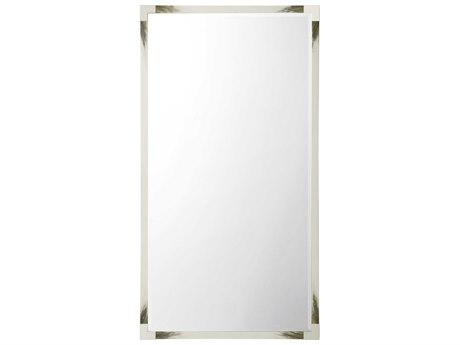 Theodore Alexander Faux Horn / Stainless Steel Floor Mirror
