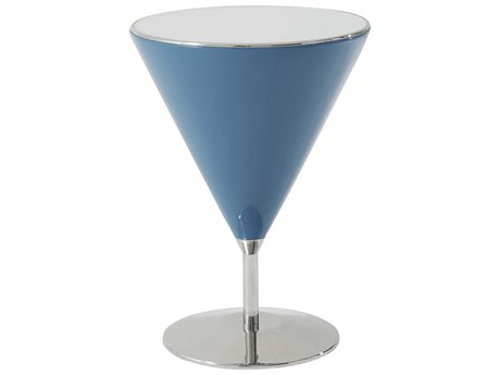Theodore Alexander Aquamarine Lacquered 16'' Wide Round Pedestal Table TAL5002300C050