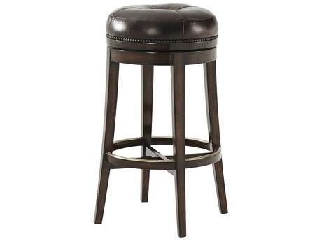 Theodore Alexander Mahogany Side Swivel Bar Height Stool