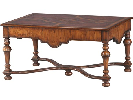Theodore Alexander Hickory Veneer / Mahogany Leather 40'' Wide Rectangular Coffee Table TAL5105237MD