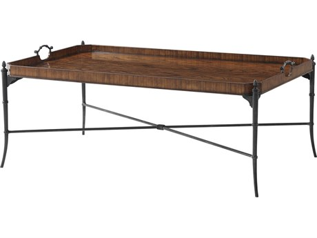 Theodore Alexander Pacific walnut / Brass 53'' Wide Rectangular Coffee Table