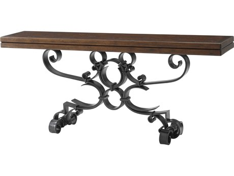 Theodore Alexander Mahogany / Wrought Iron 82'' Wide Rectangular Console Table
