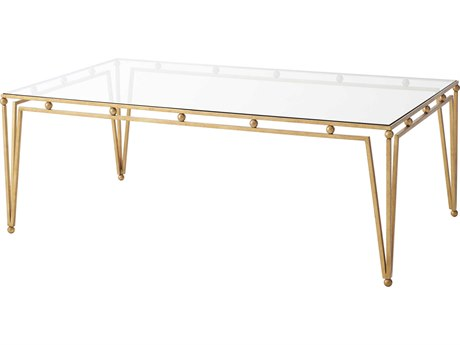 Theodore Alexander Tempered Glass / Gilt Steel 50'' Wide Rectangular Coffee Table