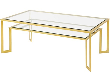 Theodore Alexander Tempered Glass / Warm Polished Brass 50'' Wide Rectangular Coffee Table