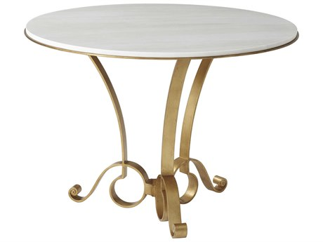 Theodore Alexander Steel / Marble 42'' Wide Round Dining Table TAL5412003