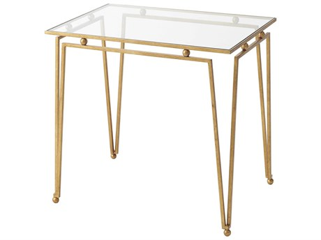 Theodore Alexander Glass / Gilt 26'' Wide Rectangular End Table