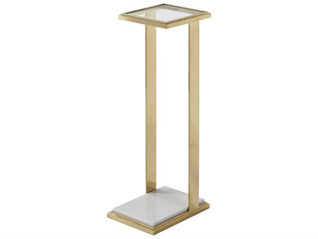 Theodore Alexander Brass / Marble Glass 8'' Wide Rectangular End Table