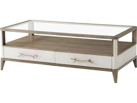 Theodore Alexander Tempered Glass / Cerused Mangrove Komodo Letaher 54'' Wide Rectangular Coffee Table