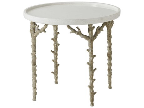 Theodore Alexander White Eggshell / Champagne 26'' Wide Round End Table