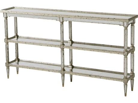 Theodore Alexander Antique Trellis Mirrored / Silver Leaf 67'' Wide Rectangular Console Table