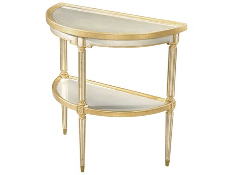 Theodore Alexander Silvered / Gilt 32'' Wide Demilune Console Table