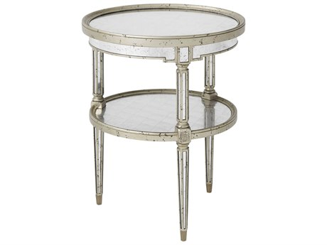 Theodore Alexander Antique Mirror / Silver Leaf 22'' Wide Round End Table