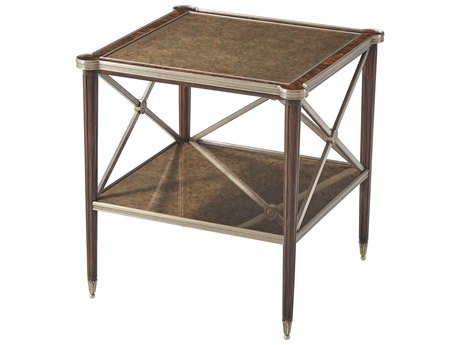 Theodore Alexander Mahogany / Brass 24'' Wide Square End Table