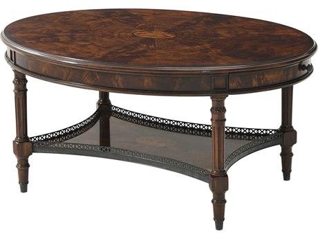 Theodore Alexander Flame Figured Veneer / Mahogany Brass 42'' Wide Oval Coffee Table TAL5105138