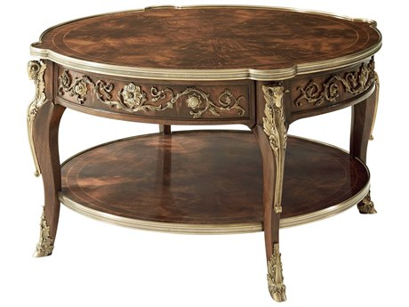 Theodore Alexander Flame Figured Veneer / Brass 38'' Wide Round Coffee Table