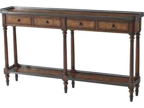 Theodore Alexander Buffalo Brown Leather / Walnut Verdigris Brass 58'' Wide Rectangular Console Table TAL5300018BD
