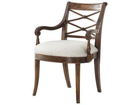 Theodore Alexander Flame Figured Veneer / Mahogany Arm Dining Chair