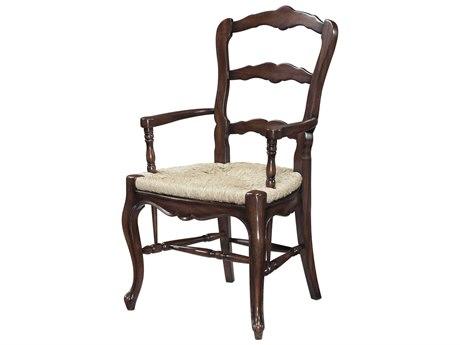 Theodore Alexander Mahogany / Rush Arm Dining Chair