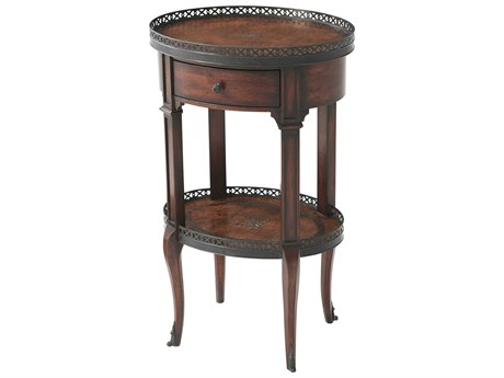 Theodore Alexander Acacia / Brown Leather 17'' Wide Oval End Table