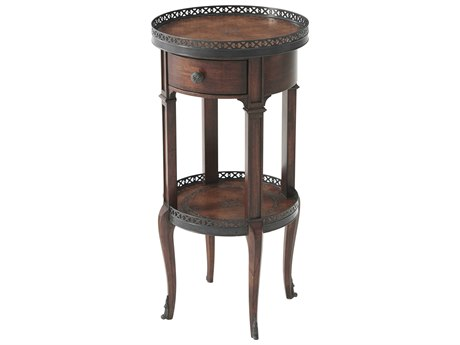 Theodore Alexander Acacia / Brown Leather 13'' Wide Round End Table