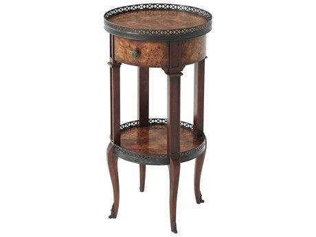 Theodore Alexander Poplar Burl Veneer / Acacia 14'' Wide Round End Table