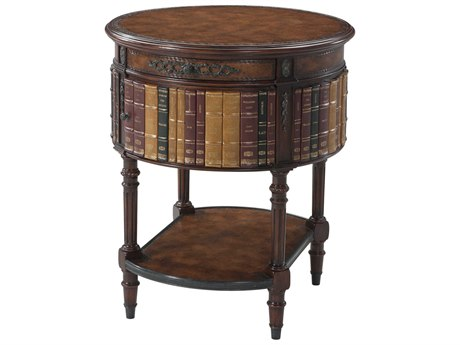 Theodore Alexander Aged Brown Leather / Acacia Verdigris Brass 24'' Wide Round End Table TAL5000465BD