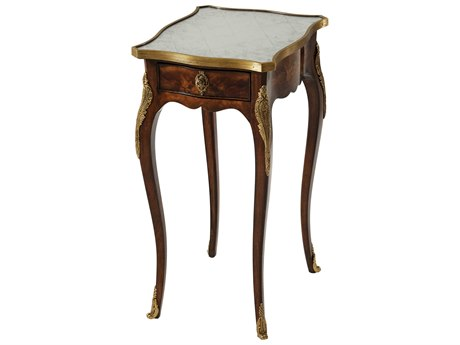 Theodore Alexander Mahogany / Brass 13'' Wide Rectangular End Table