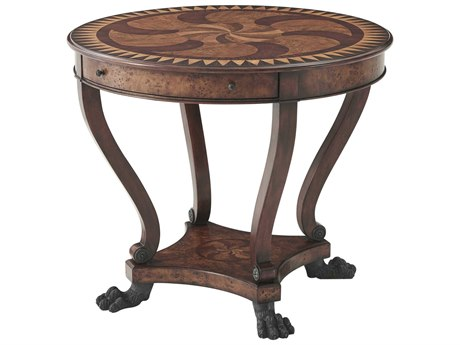 Theodore Alexander Poplar Burl Veneer / Mahogany 35'' Wide Round End Table