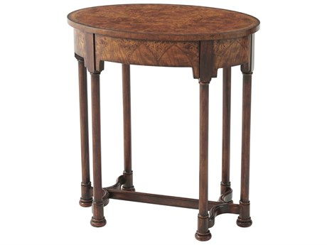 Theodore Alexander Poplar Burl Veneer / Acacia 26'' Wide Oval End Table