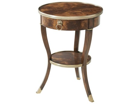 Theodore Alexander Flame Figured Veneer / Mahogany 20'' Wide Round End Table