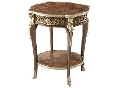Theodore Alexander Flame Figured Veneer / Mahogany Brass 26'' Wide Round End Table