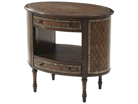 Theodore Alexander Acacia / Leather 32'' Wide Oval End Table