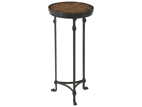 Theodore Alexander Soapstone / Veridigris Brass 12'' Wide Round End Table