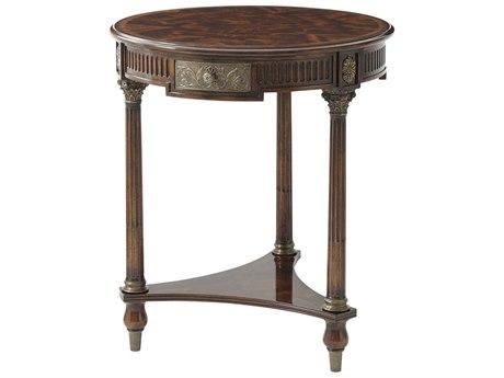 Theodore Alexander Flame Figured Veneer / Brass 25'' Wide Round Foyer Table
