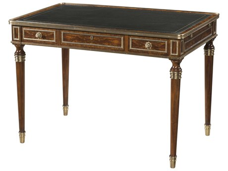 Theodore Alexander Flame Figured Veneer / Mahogany Leather Secretary Desk