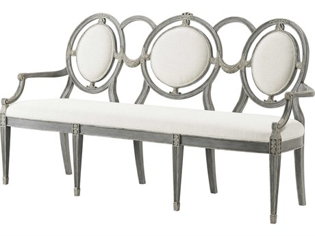 Theodore Alexander Grey Painted / White Rubbed Accent Bench