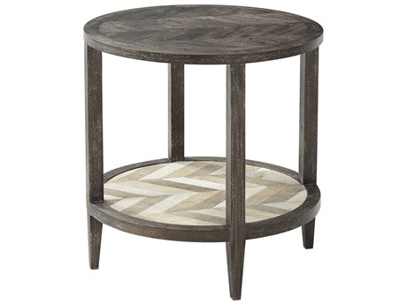 Theodore Alexander Mahogany / Cow Hide 23'' Wide Round End Table