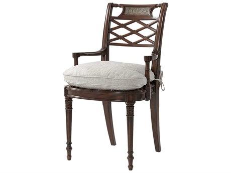 Theodore Alexander Acacia / Brass Cane Arm Dining Chair
