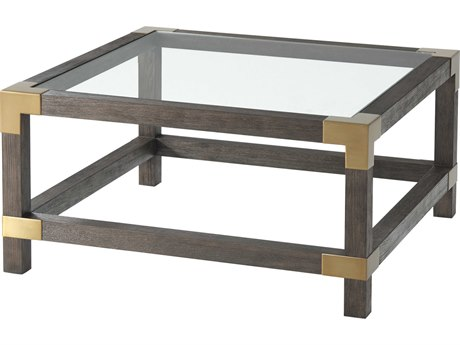 Theodore Alexander Glass / Cardamon Lati Brushed Brass 31'' Wide Rectangular Coffee Table