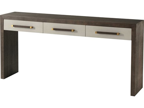Theodore Alexander Cardamon Lati with Singular Grey Leather & Brushed Brass 62'' Wide Rectangular Console Table