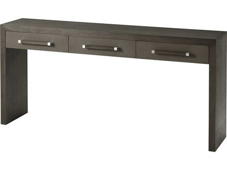 Theodore Alexander Anise Lati with Eclipse Grey Leather & Brushed Stainless Steel 62'' Wide Rectangular Console Table