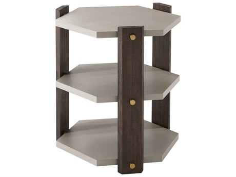 Theodore Alexander Cardamon Lati with Singular Grey Leather & Brushed Brass 22'' Wide Hexagon End Table TALTAS50003C076