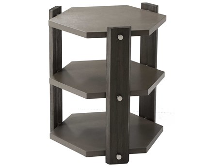 Theodore Alexander Anise Lati with Eclipse Grey Leather & Brushed Stainless Steel 22'' Wide Hexagon End Table TALTAS50003C077