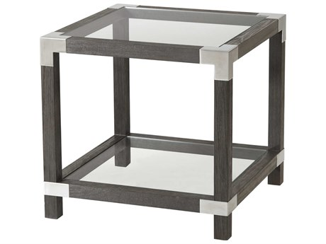 Theodore Alexander Anise Lati & Brushed Stainless Steel 25'' Wide Square End Table