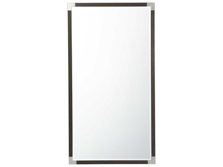 Theodore Alexander Anise Lati with Eclipse Grey Leather & Brushed Stainless Steel Floor Mirror