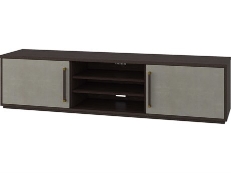 Theodore Alexander Cardamon Lati with Singular Grey Leather & Brushed Brass TV Stand TALTAS62004C076