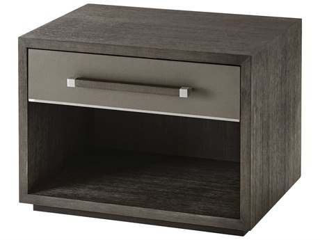 Theodore Alexander Anise Lati with Eclipse Grey Leather & Brushed Stainless Steel Rectangular 1 Drawer Nightstand