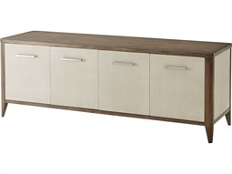 Mangrove Primavera with Overcast White Leather & Brushed Stainless Steel TV Stand