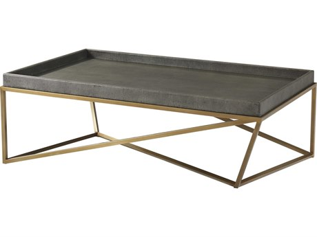 Theodore Alexander Rowan Primavera with Tempest Grey Leather & Brushed Brass 52'' Wide Rectangular Coffee Table TALTAS51012C078