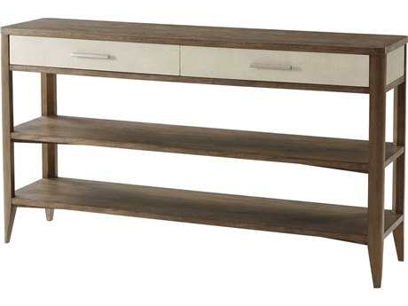 Theodore Alexander Mangrove Primavera with Overcast White Leather & Brushed Stainless Steel 64'' Wide Rectangular Console Table